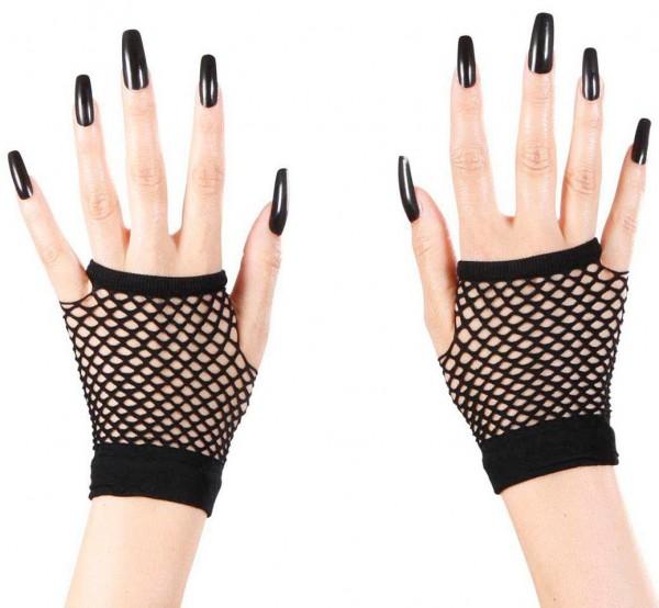 Czarne siatkowe rękawiczki bez palców