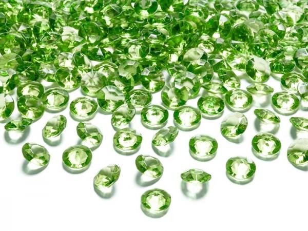 100 funkelnde Diamanten Streudeko hellgrün 12mm 1