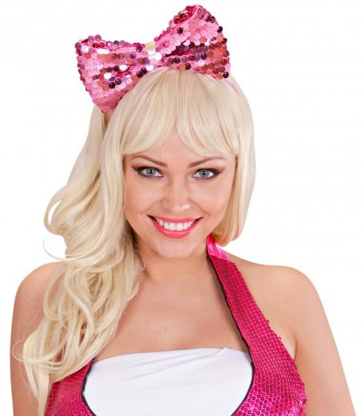 Funkelnder Haarreif Mit Pailletten Schleife Pink