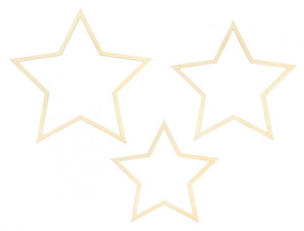 3 Wooden Star Decorations