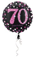 Pink 70th Birthday Folienballon 43cm