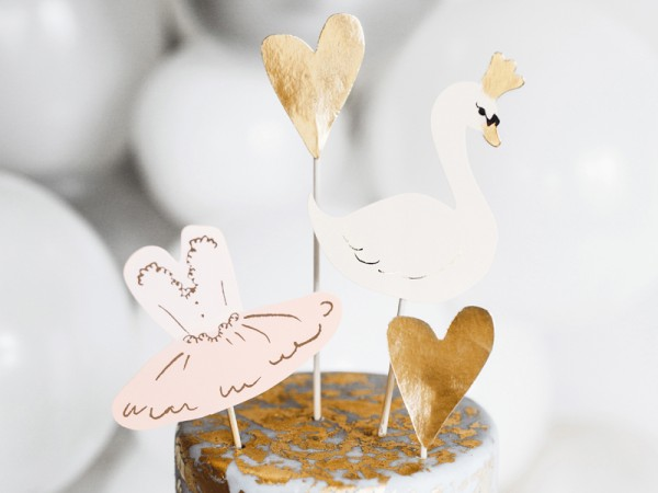 Swan Lake cake decoration 4 pieces
