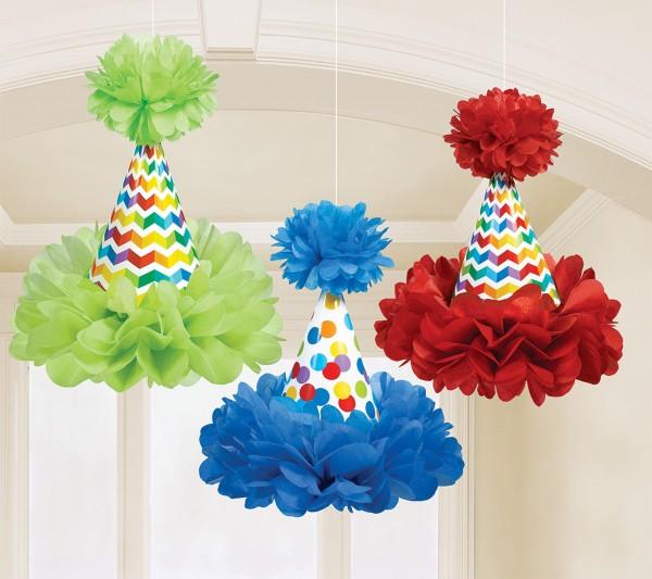 3 Rainbow Birthday party hats pompoms 29cm