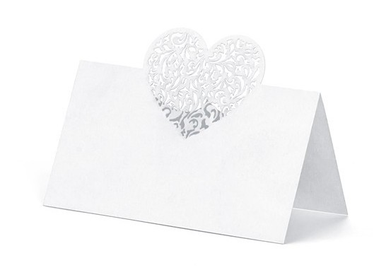 10 place cards with heart ornament 9 x 6.5cm