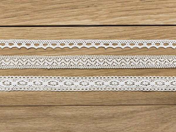 1,5m vintage lace ribbon Marie white set of 3