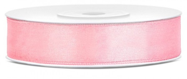 25m satin ribbon, light pink, 12mm wide