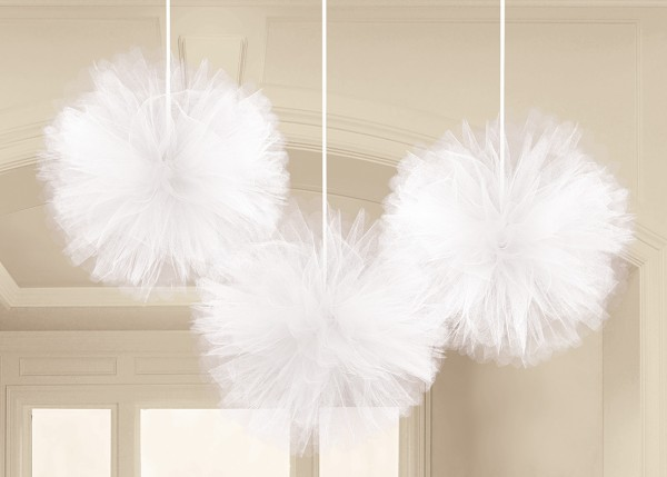 Tulle decorative balls Happy End White 30.4cm