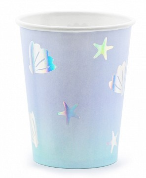 6 Sealife Paper Cups Pastel Blue 220ml
