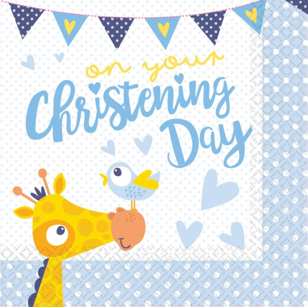 16 Christening Day napkins blue