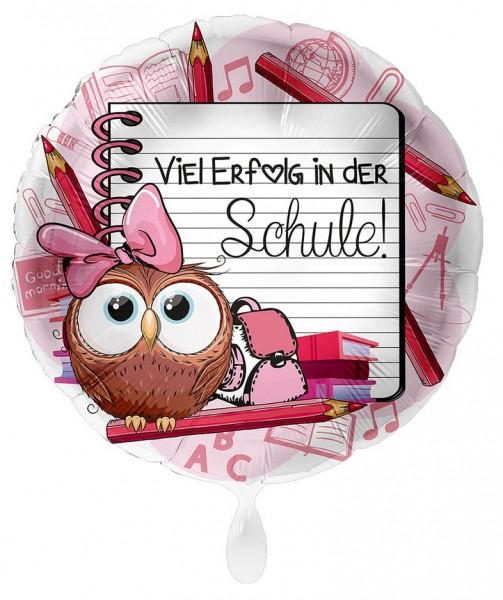 Einschulung Folienballon Eule rosa 43cm