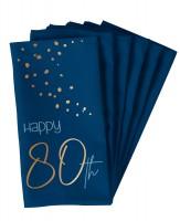 80. Geburtstag 10 Servietten Elegant blue