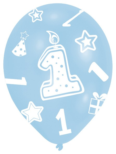 6 blaue Ballons 1.Geburtstag Baby Boy 28cm