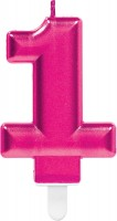 Zahlenkerze 1 in Sparkling Pink 7,5cm