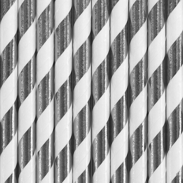 10 striped paper straws silver 19.5cm