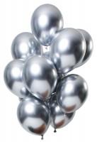12 Latexballons Spiegel Effect silber