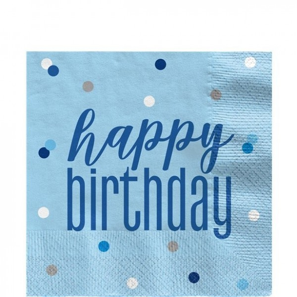 16 Happy Birthday Servietten blue dots 33cm