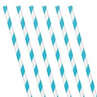 24 Gestreifte Papier Strohhalme azurblau 19cm