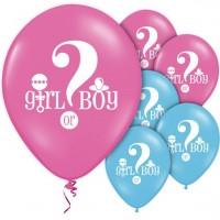 8 Gender Reveal Rosa und Blaue Luftballons 30cm