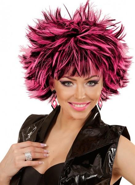80er Jahre Perücke Stacy Schwarz Pink