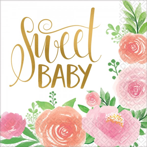 16 Sweet Baby Girl Servietten 33cm