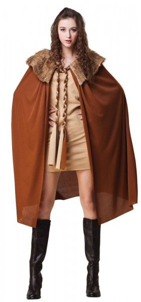 Brown Jonah cape with plush fur