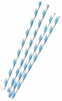 12 Gestreifte Papier Strohhalme blau 19,7cm