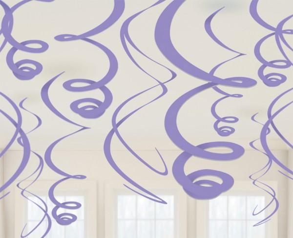 12 Lavendelfarbene Dekospiralen Fiesta 55cm