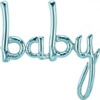 Eisblauer Baby Folienballon Schirftzug 86cm