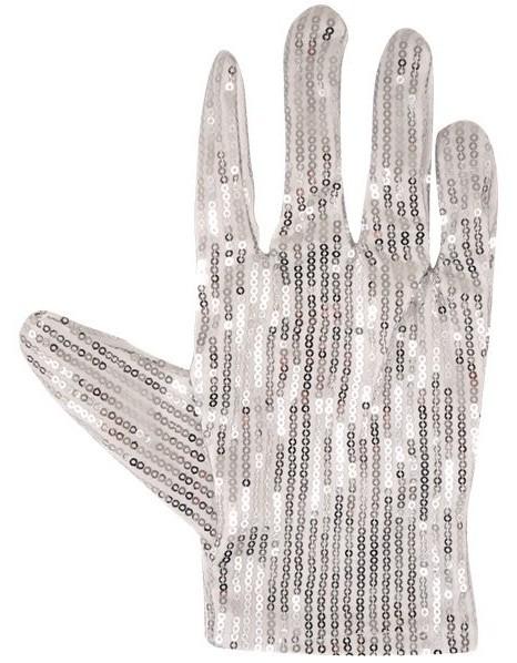 Silberne Superstar Pailletten Handschuhe für Erwachsene