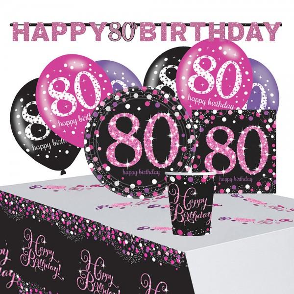 Decoración rosa 80 cumpleaños set 41 piezas