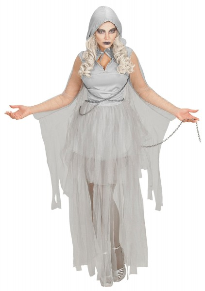 Ghost bride ladies costume in gray with chains
