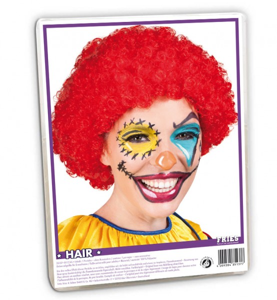 Perruque Afro Clown Rouge