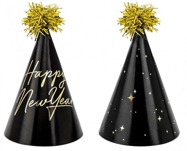 6 Royal New Year party hats 16cm