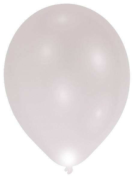 5 ballons LED argent 27cm