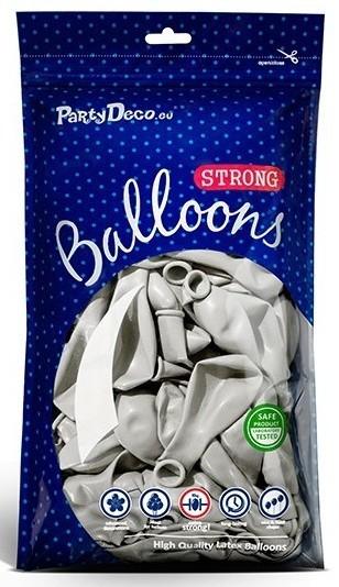 10 ballons métalliques Party Star argent 27cm
