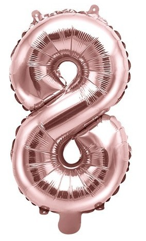 Metallic number balloon 8 rose gold 35cm