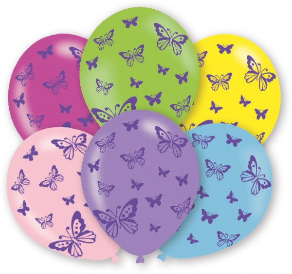 6 colorful balloons adorable butterflies