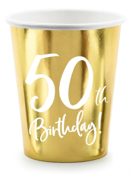 6 gobelets brillants 50e anniversaire 220 ml