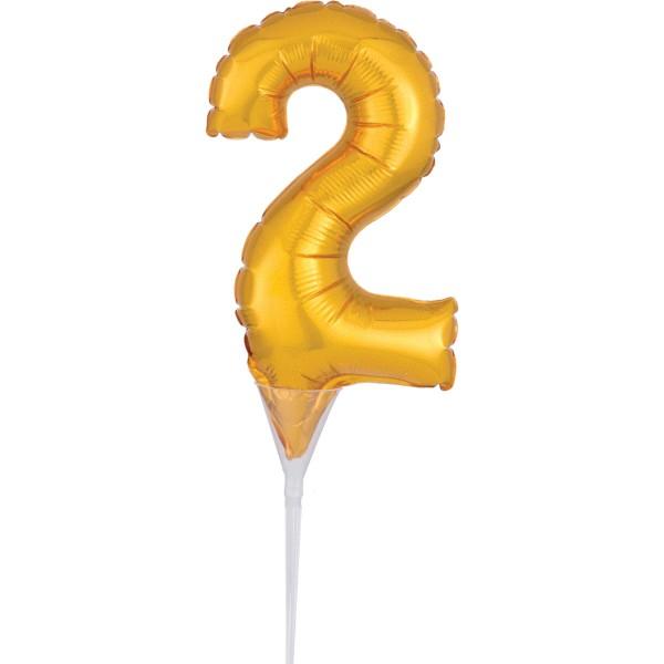 Golden number 2 cake decoration balloon 15cm