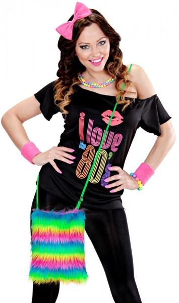 Borsa in peluche arcobaleno al neon