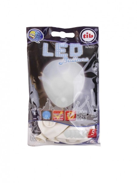5 Glowing Partynight LED balloons white 23cm
