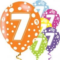6 Fancy 7th Birthday Luftballons 28cm