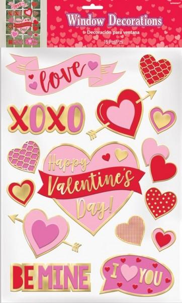 Valentinstag Fenstersticker 15-teilig
