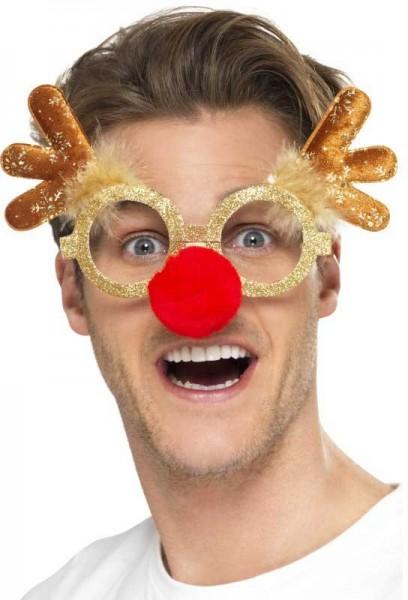 Occhiali renna d'oro con naso rosso