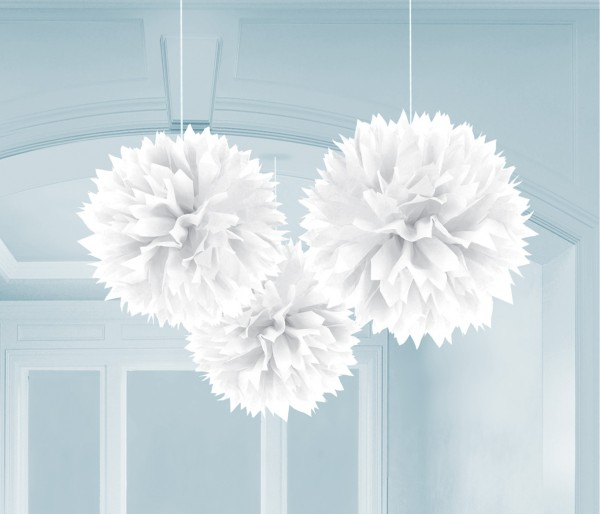 3 pompons Romance blanc