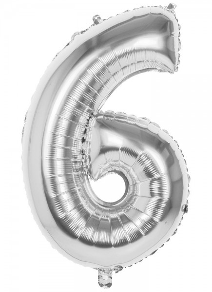Folienballon Zahl 6 Silber Metallic 86cm 1