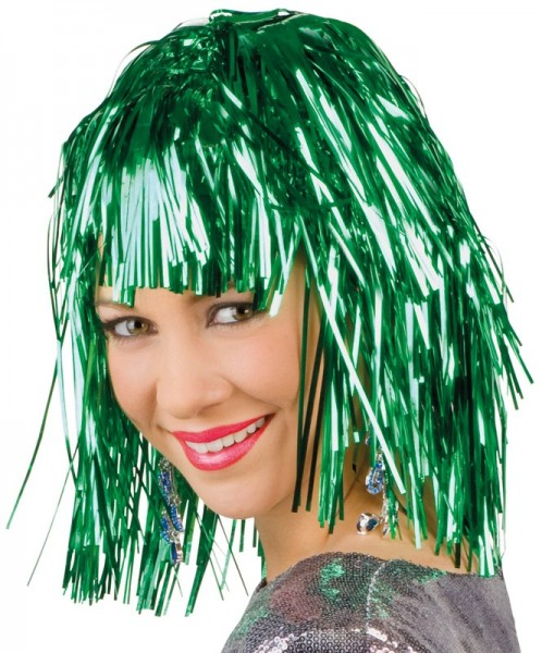 Groene glitter klatergoud pruik