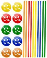 10 Ballonstäbe & Cups in Bunt