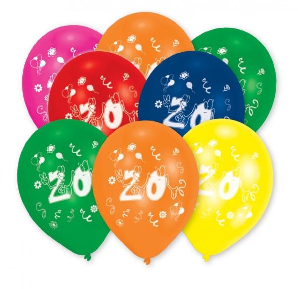 8 fröhliche Zahl 20 Ballons 25,5cm