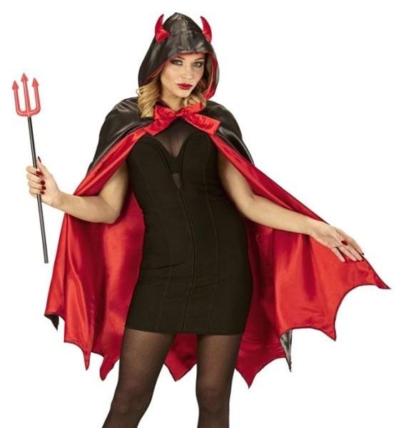 Cape de diable rouge et noire avec capuche à cornes